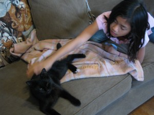 Rose petting Noel the black cat
